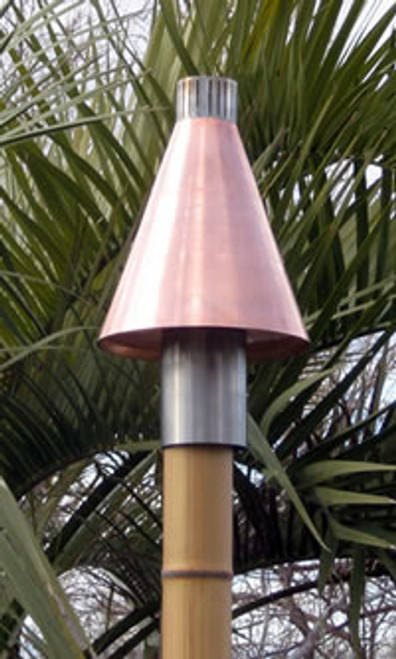 Copper Cone Automated Tiki Torch with Faux Bamboo Pole