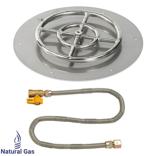 "18"" Round Flat Pan with Match Light Kit (12"" Ring) - Natural Gas"