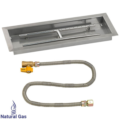 "24"" x 8"" Rectangular Drop-In Pan with Match Light Kit - Natural Gas"