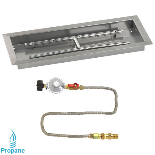 "24"" x 8"" Rectangular Drop-In Pan with Match Light Kit - Propane"
