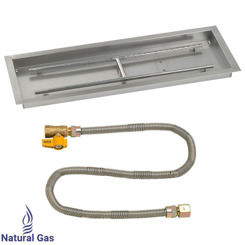 "36"" x 12"" Rectangular Drop-In Pan with Match Light Kit - Natural Gas"