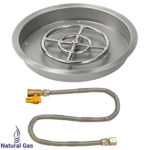 "19"" Round Drop-In Pan with Match Light Kit (12"" Fire Pit Ring) - Natural Gas"