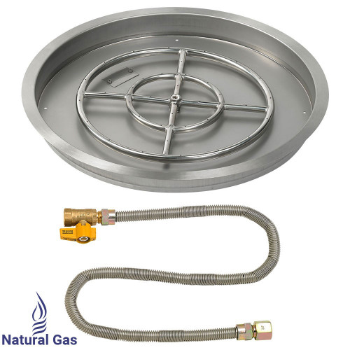 """25"""" Round Drop-In Pan with Match Light Kit (18"""" Fire Pit Ring) - Natural Gas"""