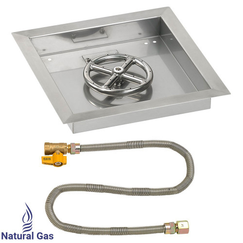 "12"" Square Drop-In Pan with Match Light Kit (6"" Fire Pit Ring) - Natural Gas"