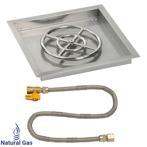 """18"""" Square Drop-In Pan with Match Light Kit (12"""" Fire Pit Ring) - Natural Gas"""