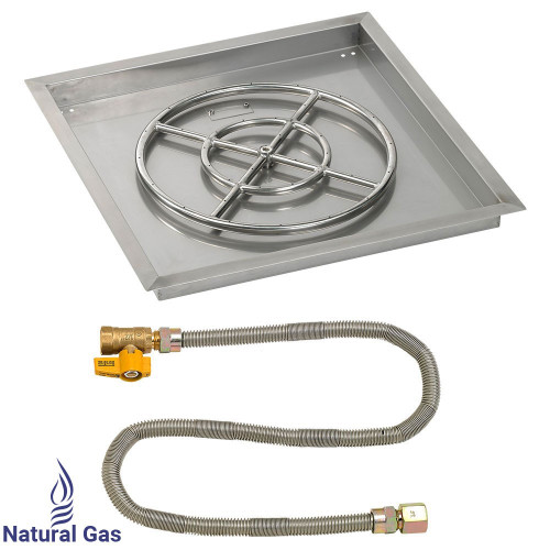 "24"" Square Drop-In Pan with Match Light Kit (18"" Fire Pit Ring) - Natural Gas"