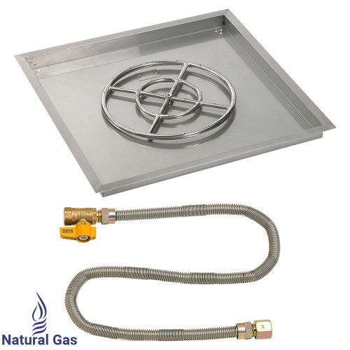 "30"" Square Drop-In Pan with Match Light Kit (18"" Fire Pit Ring) - Natural Gas"