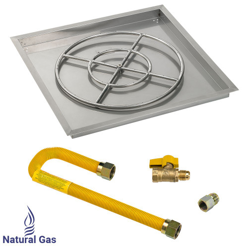 "30"" Square Drop-In Pan with Match Light Kit (24"" Fire Pit Ring) - Natural Gas"