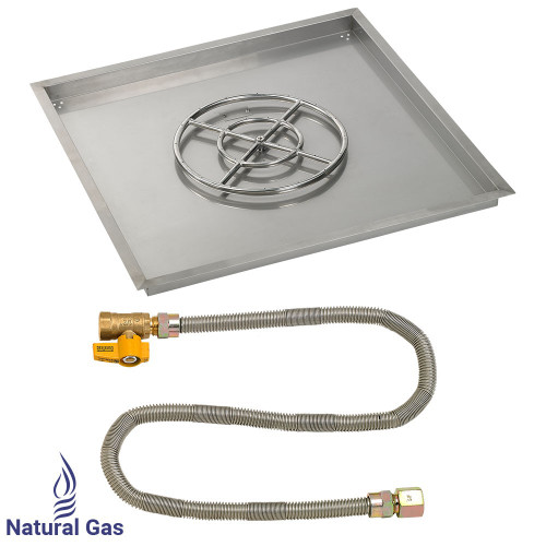 "36"" Square Drop-In Pan with Match Light Kit (18"" Fire Pit Ring) - Natural Gas"