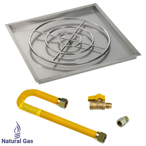 "36"" Square Drop-In Pan with Match Light Kit (30"" Fire Pit Ring) - Natural Gas"