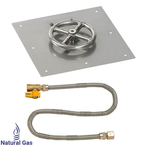 """12"""" Square Flat Pan with Match Light Kit (6"""" Ring) - Natural Gas"""