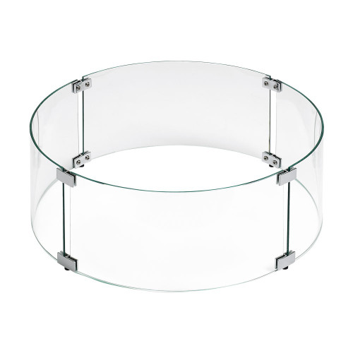 Round Glass Flame Guard for Drop-In Fire Pit Pan