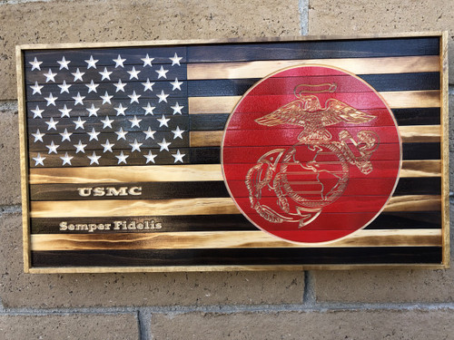 Wood Flag with USMC logo