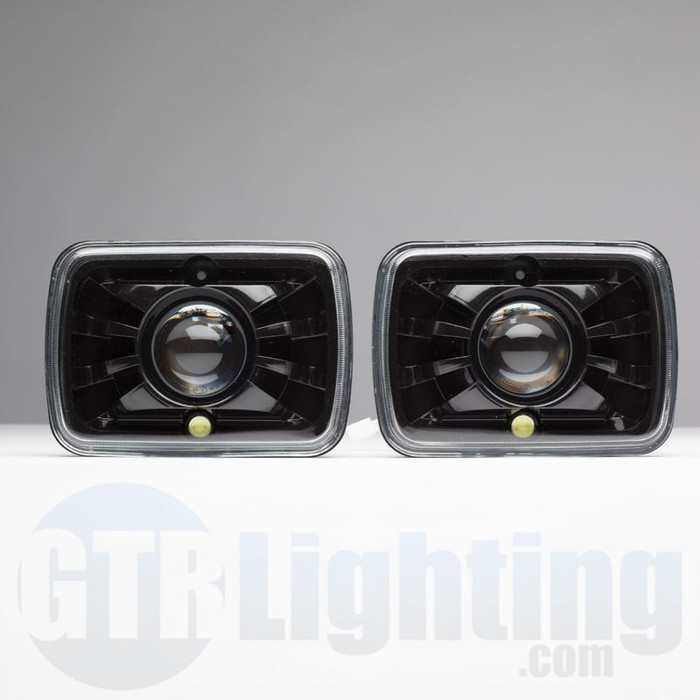 "GTR Lighting Tru-Projector Dual Beam 7x6"" H6054 Black Headlight Housing"