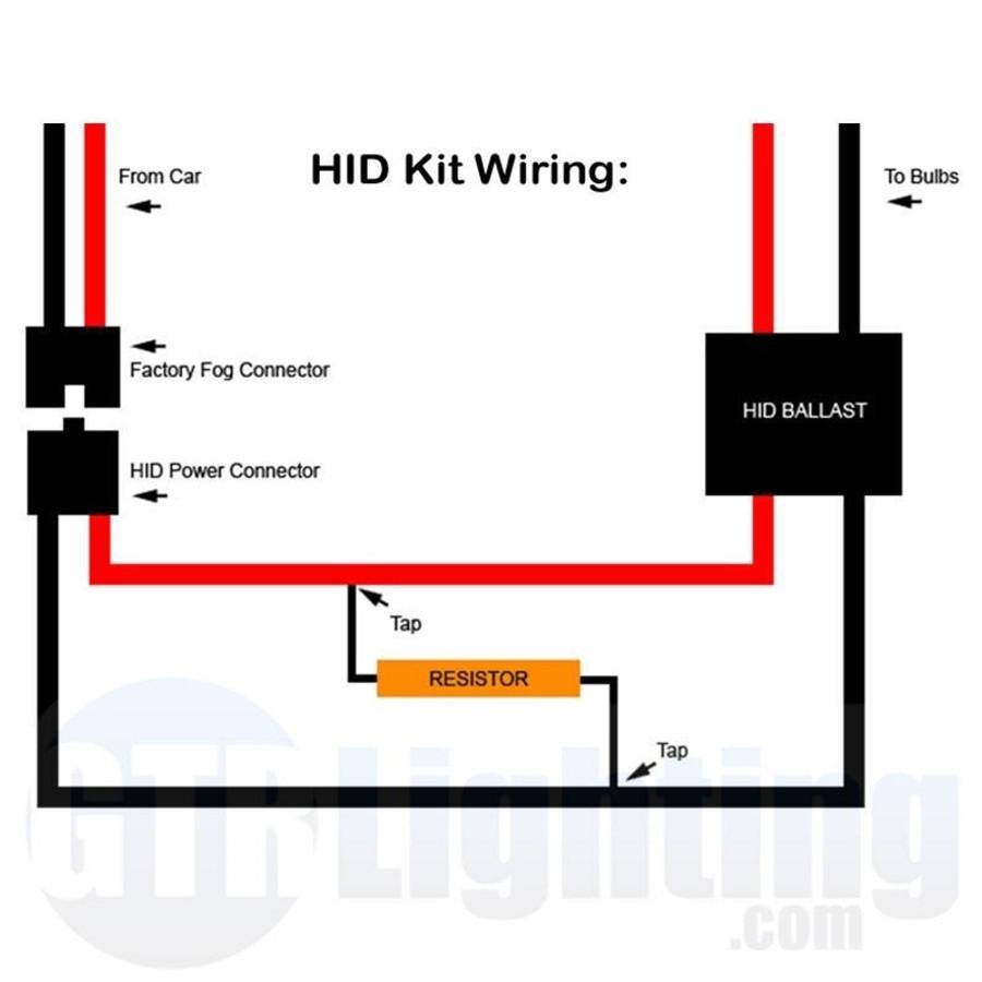 gtr lighting 50 watt 6 ohm gold style resistors for custom installation rh gtrlighting com H7 HID Relay Wiring Diagram Light and Fog HID Low Beam Diagram