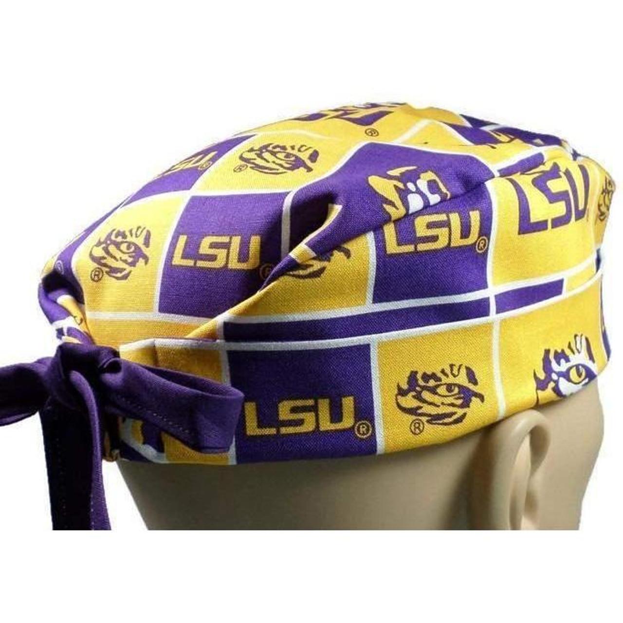 8d6e9f119b71f ... usa mens adjustable fold up cuffed or uncuffed surgical scrub hat cap  made with louisiana lsu
