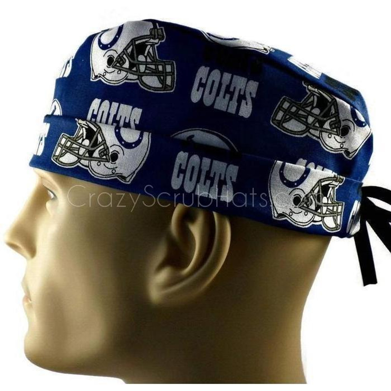 96af7c3faf6 ... sale mens adjustable fold up cuffed or uncuffed surgical scrub hat cap  made with indianapolis colts