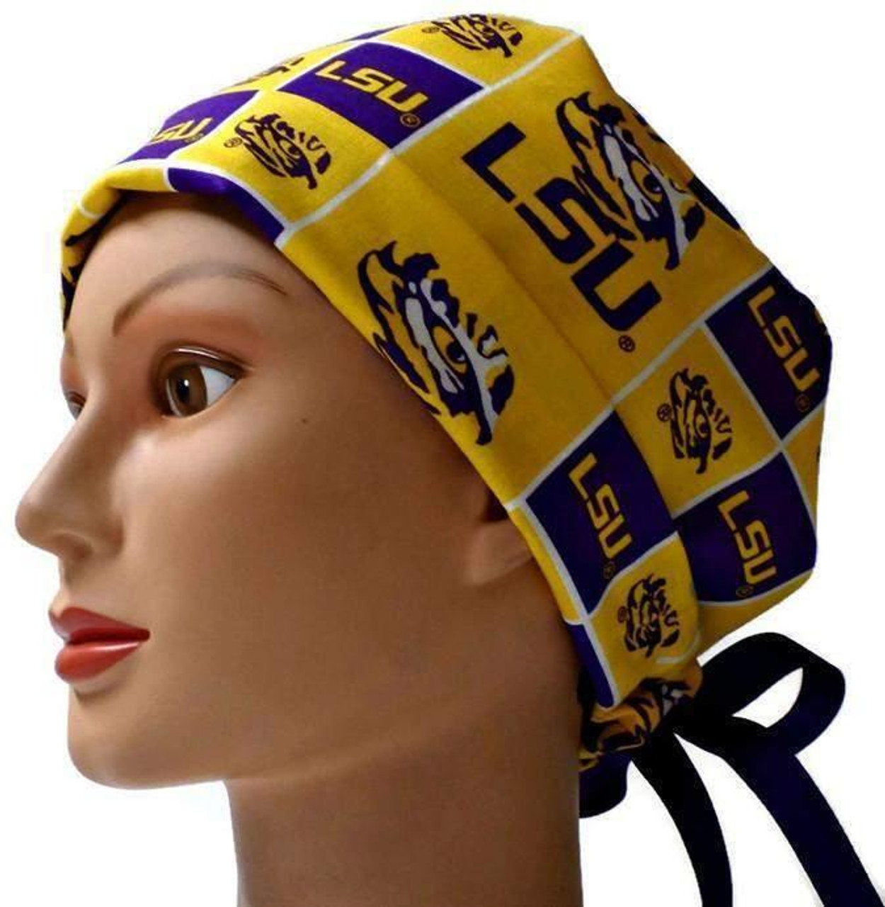 5423e3258efa4 ... italy womens adjustable fold up pixie surgical scrub hat cap made with  lsu tigers squares fabric