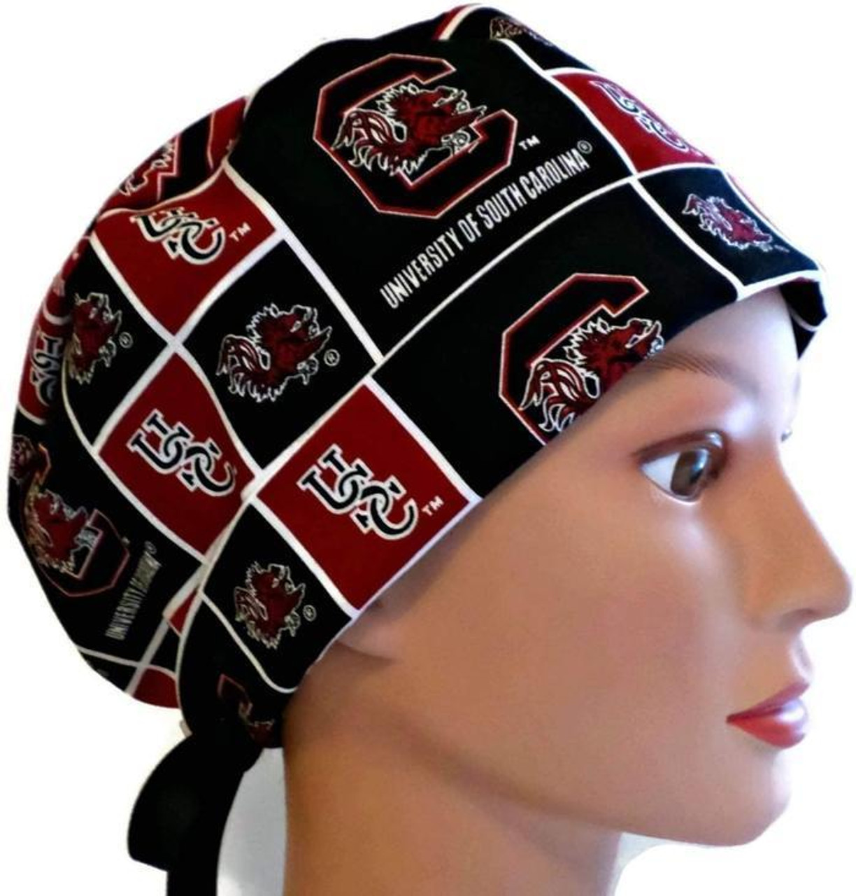 af44a96d1 ... best womens adjustable fold up pixie surgical scrub hat cap made with  south carolina gamecocks squares