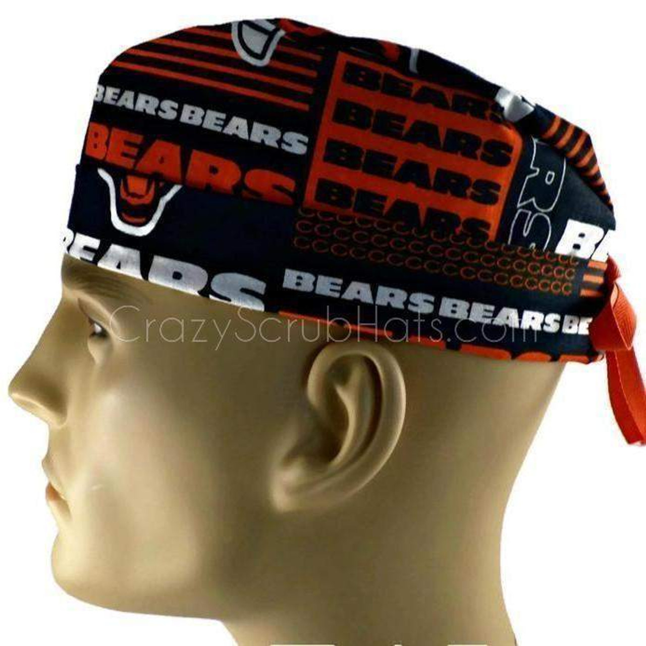 c46ad1c2858 ... purchase mens adjustable fold up cuffed or uncuffed surgical scrub hat  cap made with chicago bears