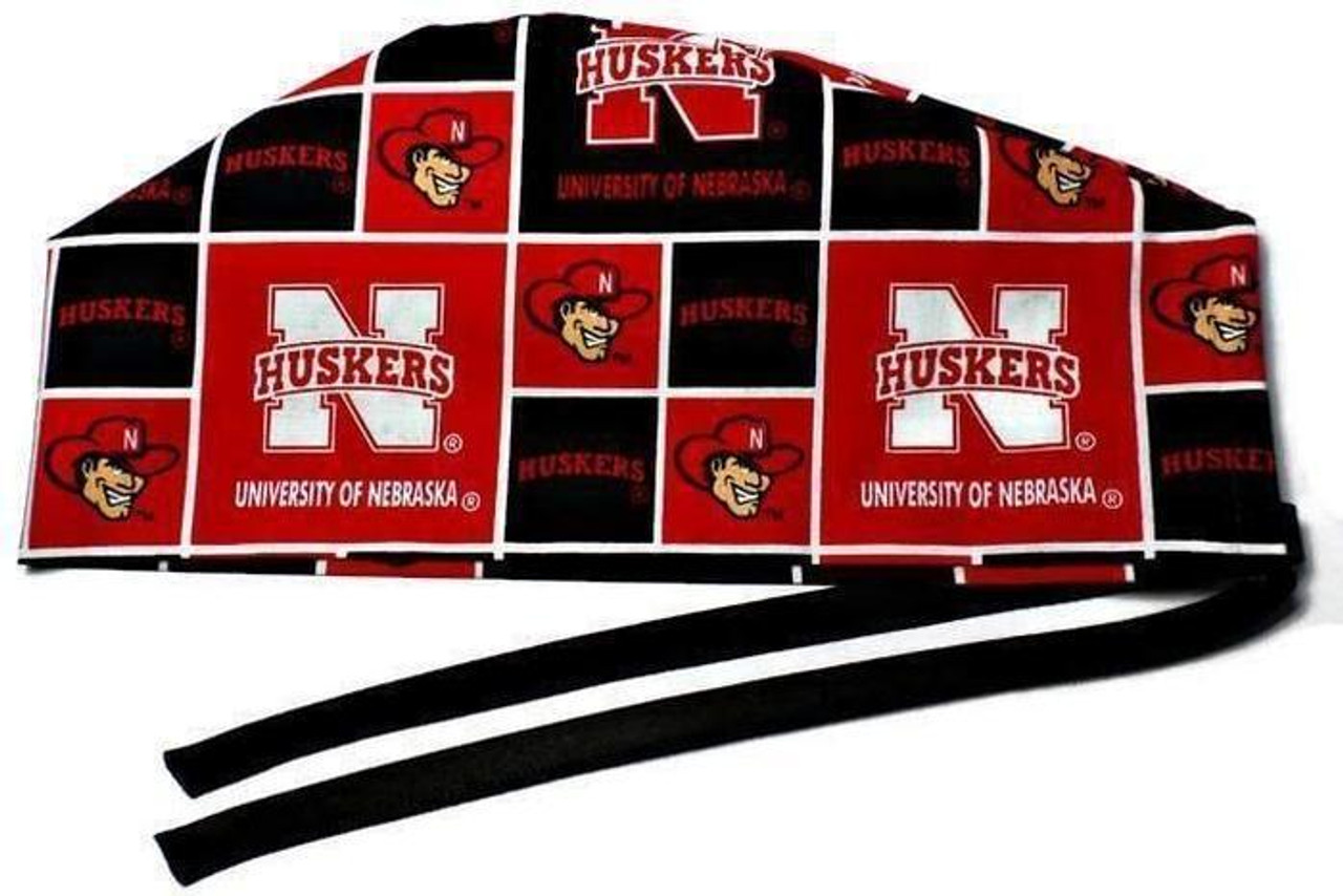 cheaper d9cf7 dbedc ... inexpensive mens adjustable fold up cuffed or uncuffed surgical scrub  hat cap made with nebraska huskers
