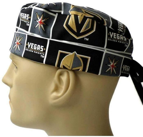 Men's Adjustable Fold-Up Cuffed or Uncuffed Surgical Scrub Hat Cap made with Vegas Golden Knights fabric