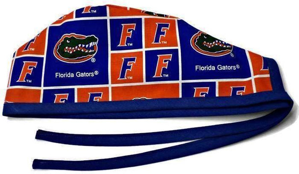 Men's Unlined Surgical Scrub Hat Cap made with Florida Gators Squares fabric