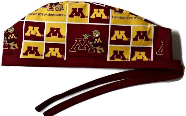 Men's Unlined Surgical Scrub Hat Cap made with Minnesota Gophers fabric