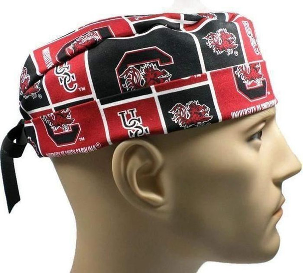 Men's Adjustable Fold-Up Cuffed or Uncuffed Surgical Scrub Hat Cap made with South Carolina Gamecocks Squares fabric