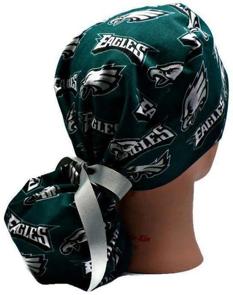 Women's Adjustable Ponytail SurgicalScrub  Hat Cap made with Philadelphia Eagles fabric