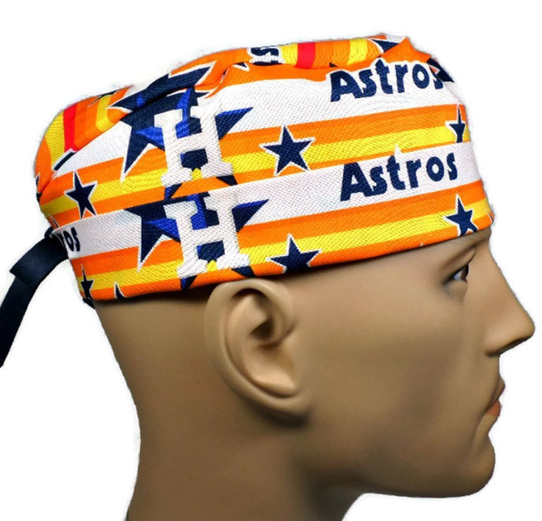 Men's Adjustable Fold-Up Cuffed or Uncuffed Surgical Scrub Hat Cap made with Houston Astros Stars fabric