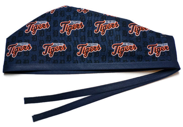 Men's Unlined Surgical Scrub Hat Cap made with Detroit Tigers Mini fabric