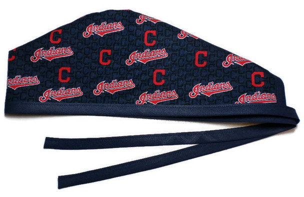 Men's Unlined Surgical Scrub Hat Cap made with Cleveland Indians Mini fabric