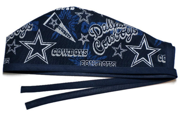 Men's Unlined Surgical Scrub Hat Cap made with Dallas Cowboys Retro fabric