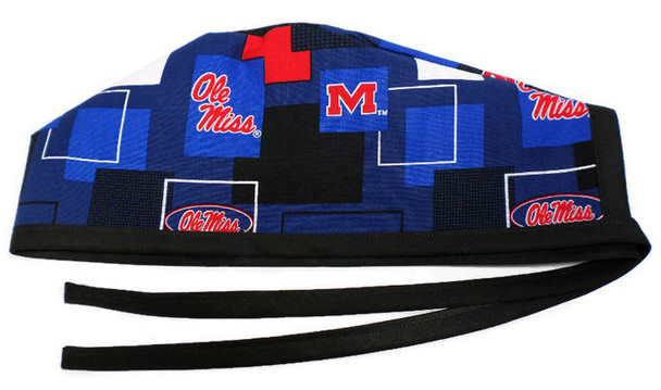 "Men's Unlined Surgical Scrub Hat Cap made with Mississippi Rebels ""Ole Miss"" New Block fabric"