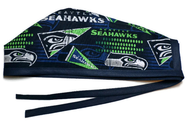 Men's Unlined Surgical Scrub Hat Cap made with Seattle Seahawks Retro fabric