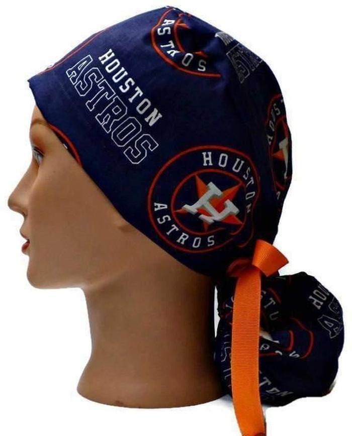 buy online ae6dd 1aa26 good norway womens adjustable ponytail surgical scrub hat cap made with houston  astros fabric 095b8 1b74d