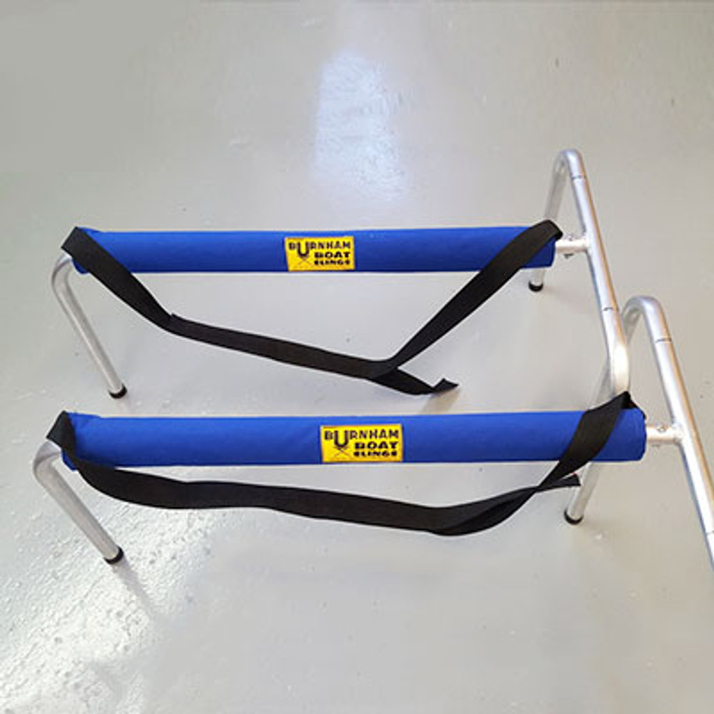 """Low stands ideal for eights and quads.  Store your larger rowing shells out of the way.  These """"LowBoy"""" T Stands are very durable and long-lasting. Great for race day or in house storage.   Our stock color is Burnham Boat Slings Marine Blue."""