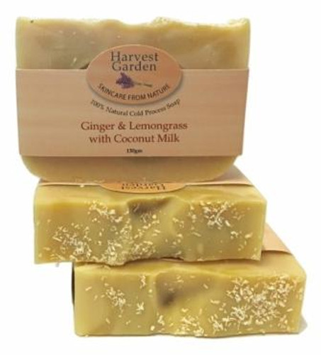 Luxury Ginger & Lemongrass with Coconut Milk  130gm Harvest Garden hand poured soap bar