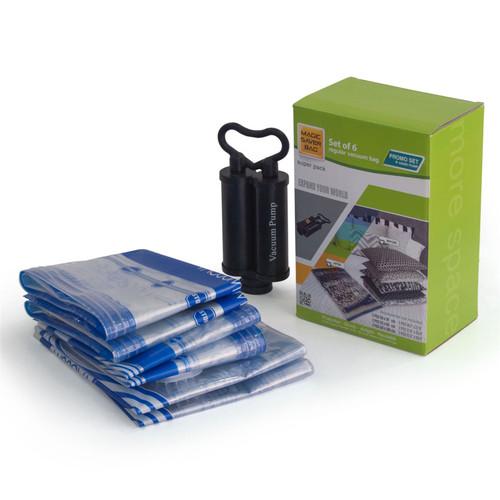 Magic Saver Bag - Promo Set [2 x Large / 2 x XLarge / 2 x XXLarge] Vacuum Storage Bags Includes a Hand Pump - Super Pack of 6