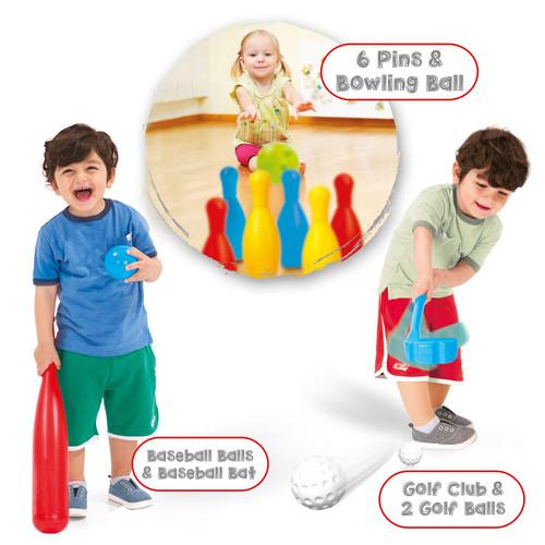 Dolu Kids 3 In 1 Sports Set - Golf, Baseball & Bowling Set