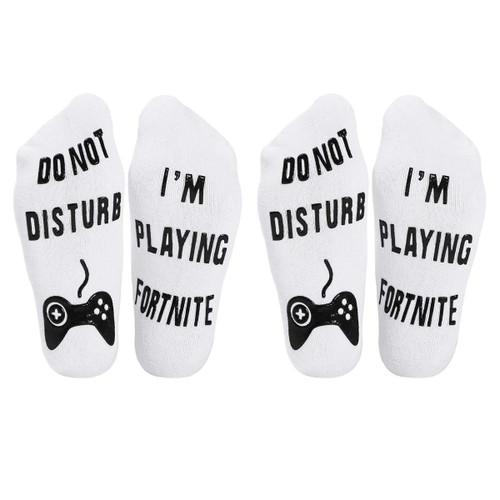 Vinsani 2 Pairs of Do Not Disturb, I'm Playing Fortnite' Funny Ankle Socks - Great Gamer Gift For Fortnite Lovers - White Socks