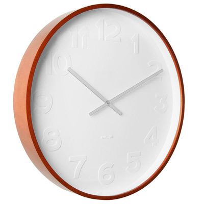 KARLSSON WALL CLOCK MR WHITE LARGE Ø 51 - white with wooden rim
