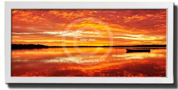 Color Shot - Early Morning at Lake Cooroibah in white box frame (example only)