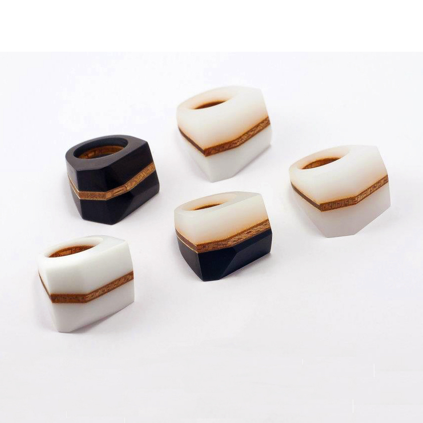 MABEL - Facet Rings - Black, Black & White or White