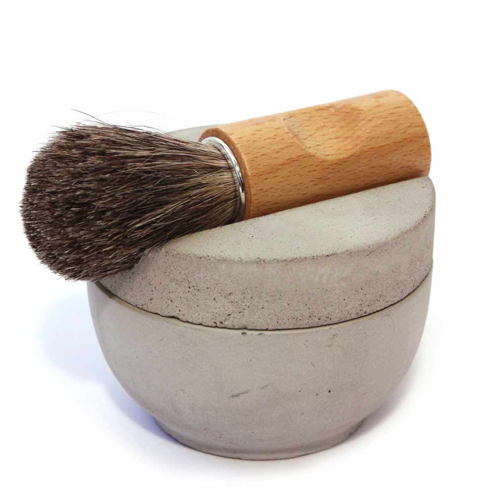 IRIS HANTVERK Grey Concrete Shaving Bowl, Brush & Sandalwood Soap