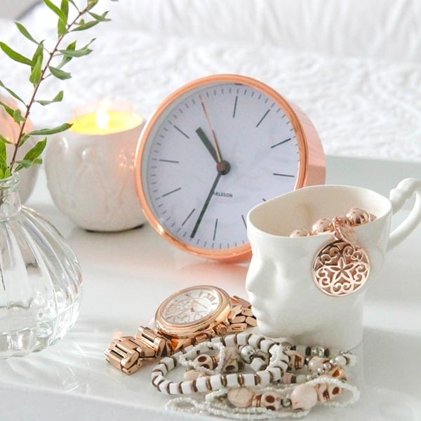 KARLSSON CLOCKS copper alarm clock white dial (deko not included)