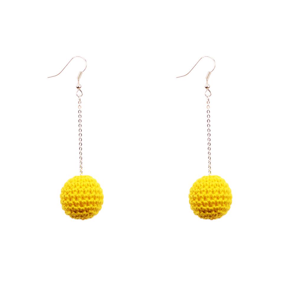 Mon Bijou - Drop Earrings - Cotton Crochet Yellow | The Design Gift Shop