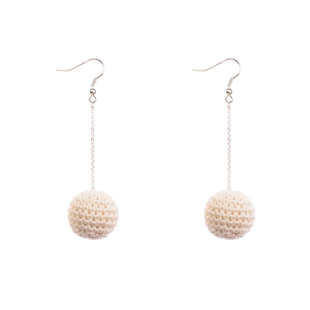 MON BIJOU | Drop Earrings | Crochet Beads White