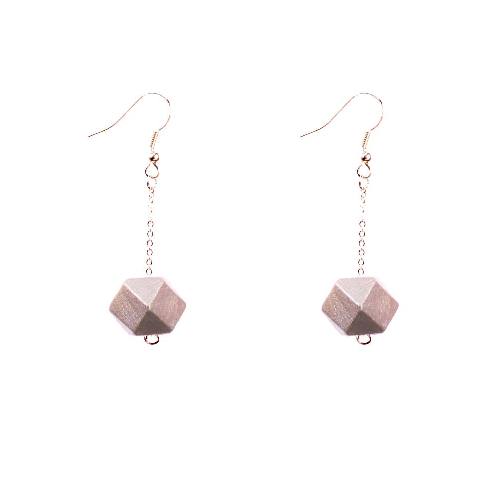 Mon Bijou - Drop Earrings - Silver Geometric Faceted Beads | The Design Gift Shop